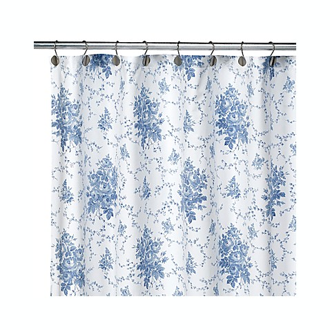 Laura Ashley Sophia Blue 72 Inch X 72 Inch Fabric Shower
