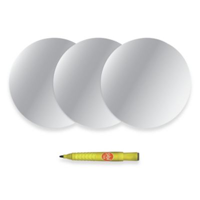 WallPops!® Removable Dry Erase Message Dot and Marker in Silver (Set of 3)