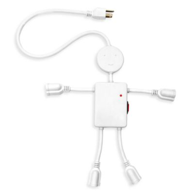 Kikkerland® Electro Man Multi-Outlet Plug in White