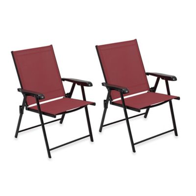 Folding Sling Chairs in Red (Set of 2)