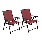 Sling Folding Chair in Red (Set of 2)