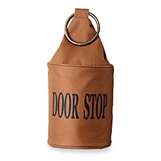 Brown Fabric Door Stop with Copper Ring Handle