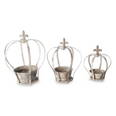 Aged Metal Crown Planters (Set of 3)