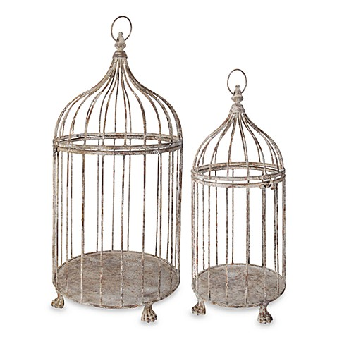 Aged metal bird cages set of 2 bed bath beyond - Petite cage oiseau deco ...