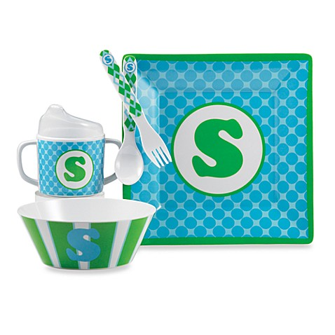 Mud Pie® Letter Feeding Set in Blue