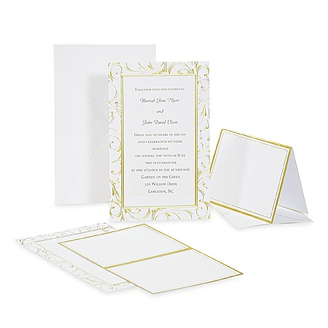 Cathy's Concepts Gold Swirl Invitation Kit (Set of 50)