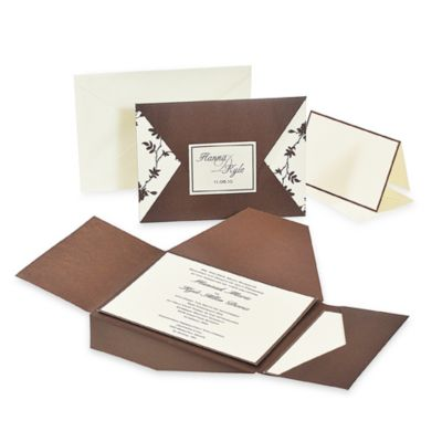 Cathy's Concepts Brown and Ivory Vintage Invitation Kit (Set of 3)