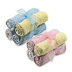 Frenchie Mini Couture Washcloth with Swirl Print Binding (Set of 4)