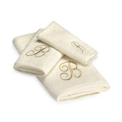 Avanti Premier Gold Script Monogram Bath Towels in Ivory