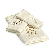 Avanti Premier Gold Script Monogram Bath Towel Collection in Ivory