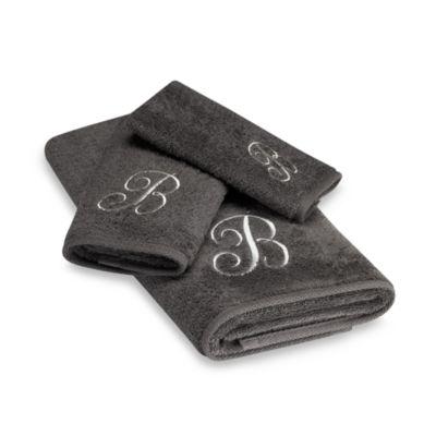 "Avanti Premier Silver Script Monogram Letter ""U"" Hand Towel in Granite"