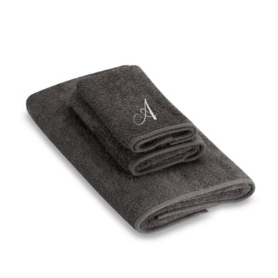 "Avanti Premier Silver Script Monogram Letter ""A"" Bath Towel in Granite"