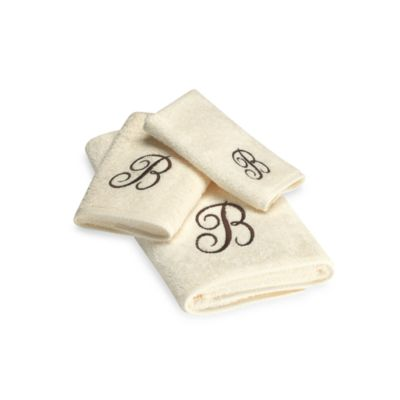 "Avanti Premier Brown Script Monogram Letter ""E"" Fingertip Towel in Ivory"