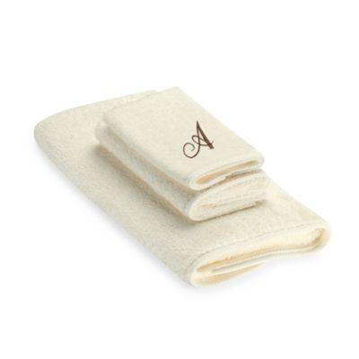 "Avanti Premier Brown Script Monogram Letter ""A"" Hand Towel in Ivory"
