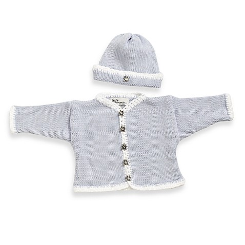 Cardigan and Hat Set in Light Blue/White