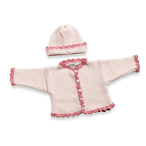 Size 0 - 6 Months Cardigan and Hat Set in Light Pink/Raspberry