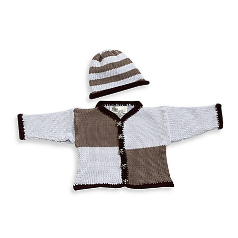 Size 0 - 6 Months Cardigan and Hat Set in Light Blue/Grey