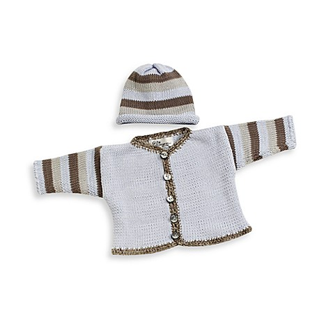 Striped Cardigan and Hat Set in Light Blue/Gray