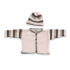 Striped Cardigan and Hat Set in Light Pink/Gray