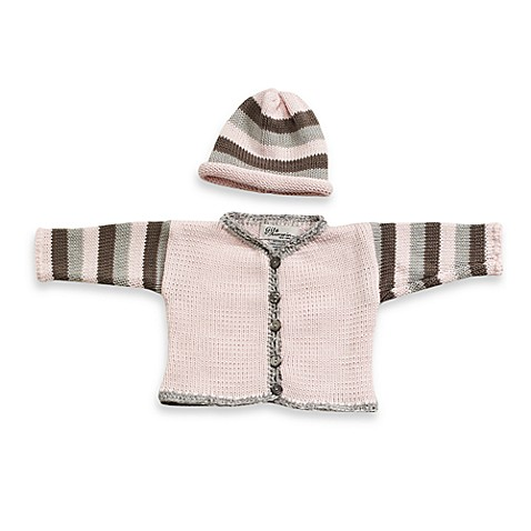 Size 0 - 6 Months Striped Cardigan and Hat Set in Light Pink/Grey