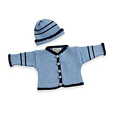 Cardigan and Hat Set in Light Blue/Navy