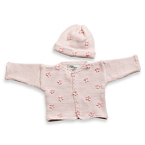 Cardigan and Hat Set in Light Pink