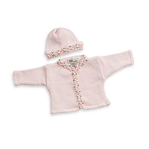 Cardigan and Hat Set Size in Light Pink with Floral Trim
