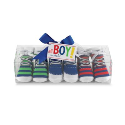 Mud Pie™ Striped Sneaker Socks (Set of 3) - 0 to 12 Months