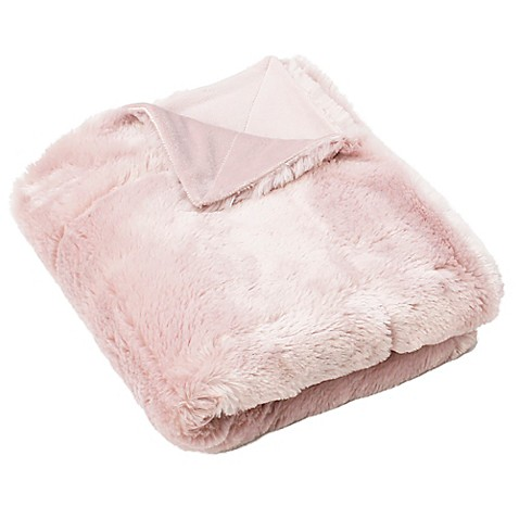 Thro Savannah Seal Faux Fur Throw Blanket in Rose