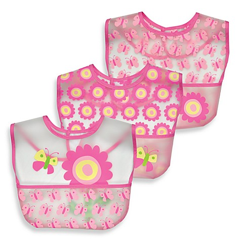 green sprouts® by i play.® Flower Waterproof Bibs (Set of 3)