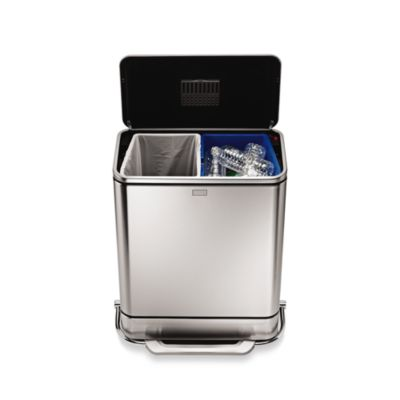 simplehuman® Brushed Stainless Steel Fingerprint-Proof 48-Liter Steel Bar Recycler