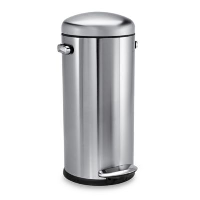 simplehuman® Retro Fingerprint-Proof Round 30-Liter Step-On Trash Can in Brushed Stainless Steel