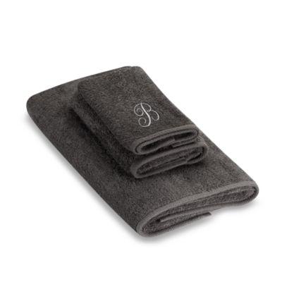 "Avanti Premier Silver Script Monogram Letter ""B"" Bath Towel in Granite"