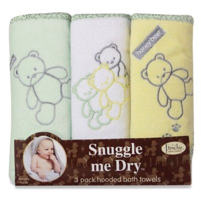 Frenchie Mini Couture Teddy Bear Neutral Hooded Towels (3-Pack)