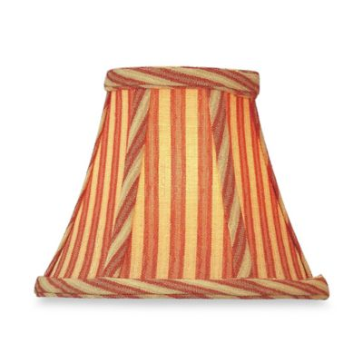 Cream/Ruby Striped Woven Modified Bell Chandelier Shade