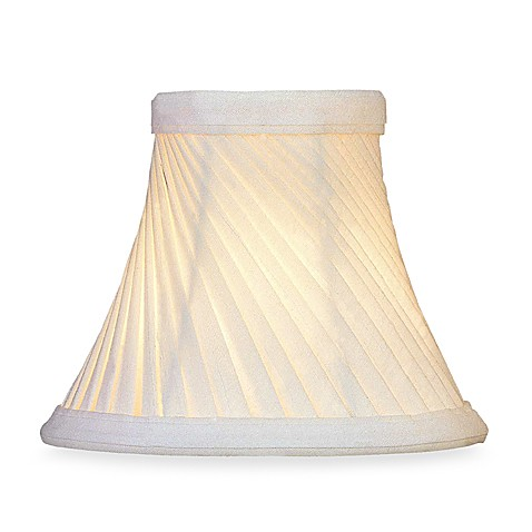 Shantung Chandelier Shade with Swirl Pleats in Eggshell