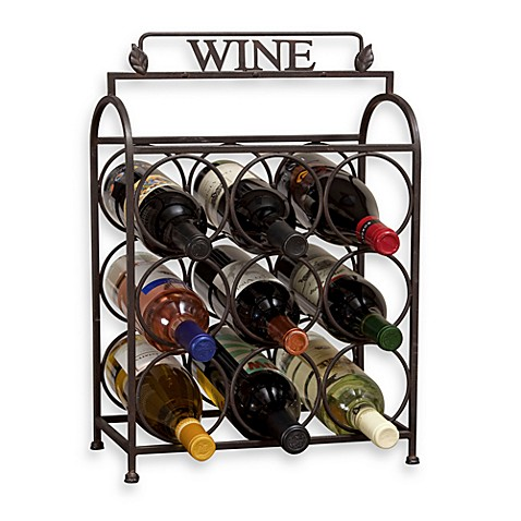 Vintage 9-Bottle Wine Rack - BedBathandBeyond.com