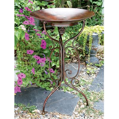 Metal Birdbath with Decorative Scrolling