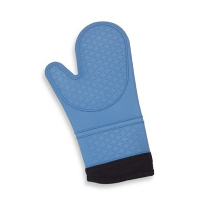 Silicone Quilted Oven Mitt in Blue