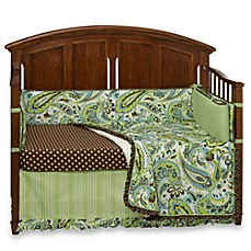 My Baby Sam Paisley Splash in Lime 4-Piece Crib Bedding Ensemble