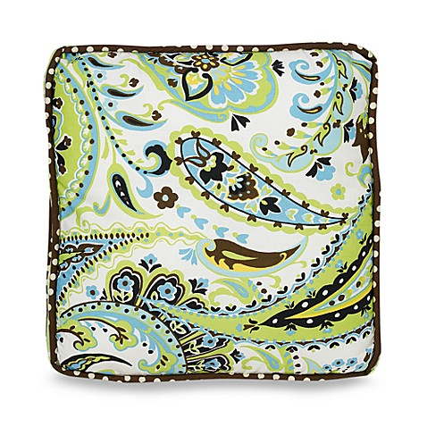 My Baby Sam Paisley Splash Throw Pillow in Lime