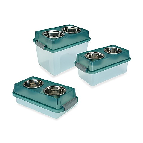 Iris USA™ Elevated Small Dog Feeder with Storage