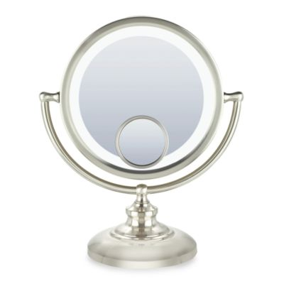Fluorescent 10x Table Mirror with Satin Nickel Finish