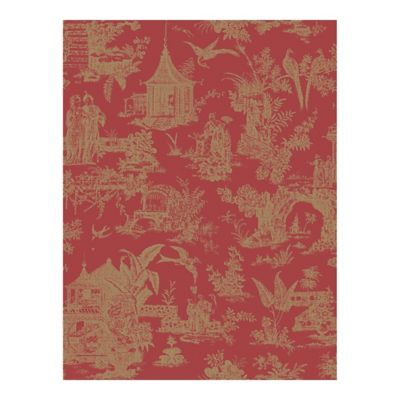 Zen Garden Toile Wallpaper in Red