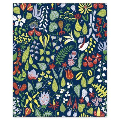 Herbarium Floral Motif Wallpaper in Navy