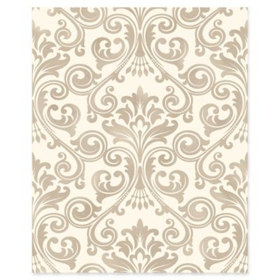 Wentworth Damask Wallpaper in Beige