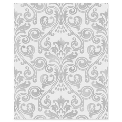Wentworth Damask Wallpaper in Grey