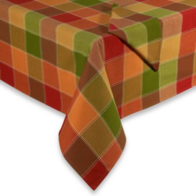"Autumn Check 70"" Round Tablecloth"