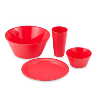 Polyproylene 13-Piece Dinnerware Set in Cherry