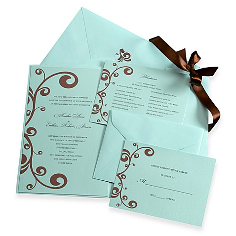Gartner Studios Blue and Brown Invitation Kit (Set of 2)